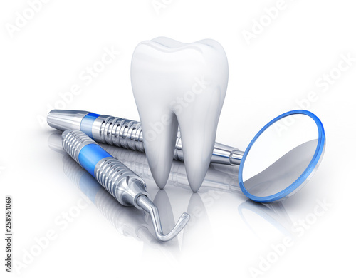 Fotografie, Obraz  tooth and dental tools