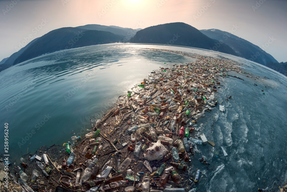 Fototapety, obrazy: Spring flood and shore with garbage