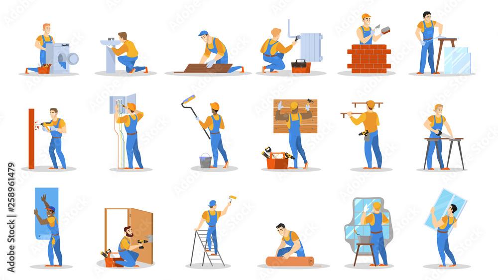 Fototapeta Home repair worker set. Collection of people