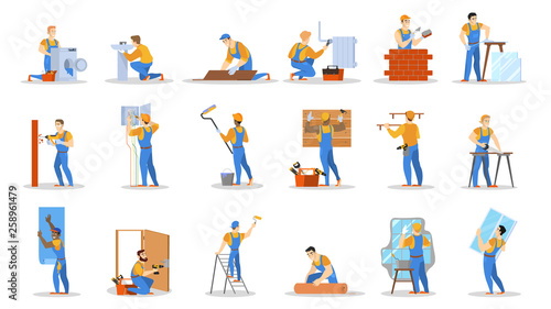 Home repair worker set. Collection of people