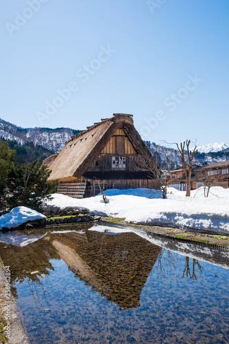Fotografía  Shirakawa-go (Shirakawa Village), Gifu Prefecture / Japan - March 17th, 2018: The historic village of Shirakawa-go, a UNESCO World Heritage Site