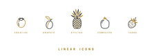 Fruit Icons Set In Linear Styl...