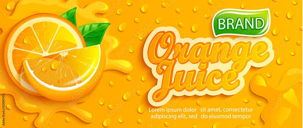 Fototapety, obrazy: Fresh orange juice splash banner with apteitic drops from condensation, fruit slice on gradient orange background for brand,logo, template,label,emblem,store,packaging,advertising.Vector illustration