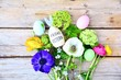 Ostern - Frohe Ostern - Osternest mit Eiern und Blumen