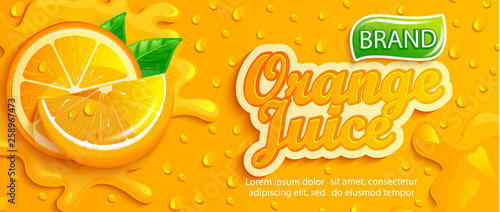 Fotografia Fresh orange juice splash banner with apteitic drops from condensation, fruit slice on gradient orange background for brand,logo, template,label,emblem,store,packaging,advertising
