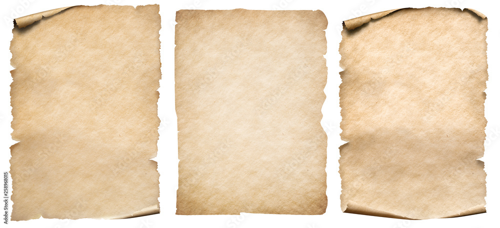 Fototapety, obrazy: Vintage paper or parchment set isolated on white