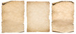 canvas print picture - Vintage paper or parchment set isolated on white