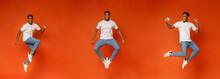 Collage Of Jumping Black Guy On Orange