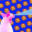 Leinwanddruck Bild - pizza pattern with hungry feline cat, pop food theme