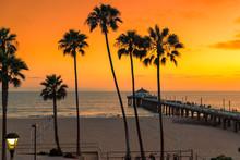 Sunset At California Beach, Ma...