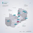 Zambia vector map with infographic elements, pointer marks.