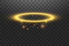 Gold Halo Angel Ring. Isolated On Black Transparent Background, Vector Illustration