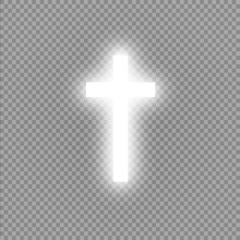 Shining White Cross On Transparent Background. Glowing Saint Cross. Vector Illustration