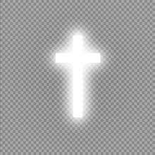 Shining White Cross On Transparent Background. Glowing Saint Cross. Vector Illustration