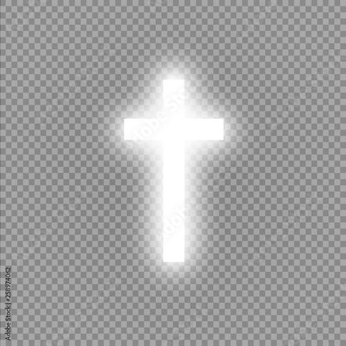 Shining white cross on transparent background Fototapeta
