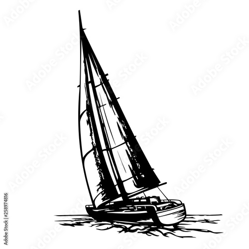 sailing yacht stylized vector