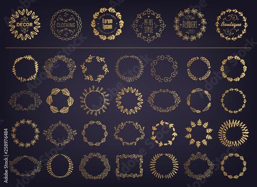 Canvas-taulu Vector set of golden floral silhouette circular laurel foliate, wheat and oak wr