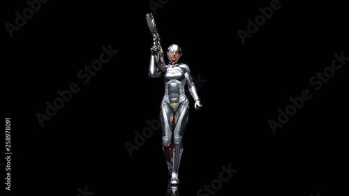 Futuristic android soldier woman in bulletproof armor, military cyborg girl arme Canvas Print