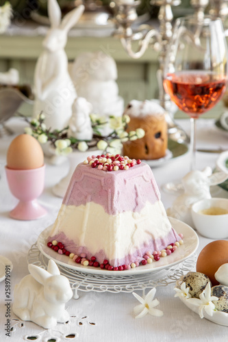 Poster Dairy products Vanilla and berries Paskha. Russian traditional Easter cottage cheese dessert. Easter festive table