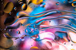 Abstract colorful liquid water splash and bubbles background. Macro photography