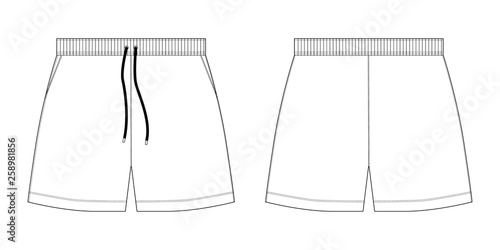 Obraz Technical sketch sport shorts pants design template. - fototapety do salonu