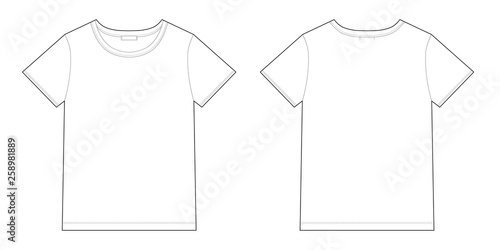 Carta da parati Technical sketch unisex black t-shirt design template.