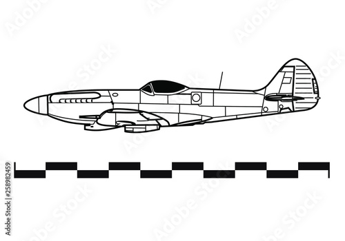 Cuadros en Lienzo Supermarine SPITFIRE. Outline drawing