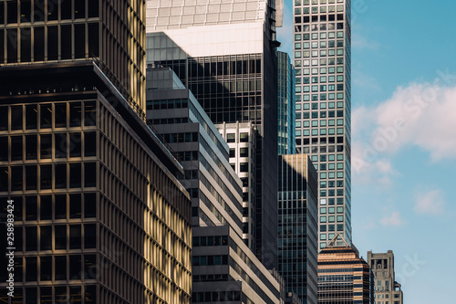 Close-up view of 432 Park Avenue Condominiums and modern skyscrapers in Midtown Manhattan New York City