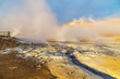 canvas print picture A view of Hverir in Iceland, a place with boiling mud and metan canals, Iceland