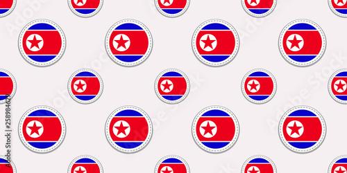 North Korea Round Flag Seamless Pattern North Korean Background
