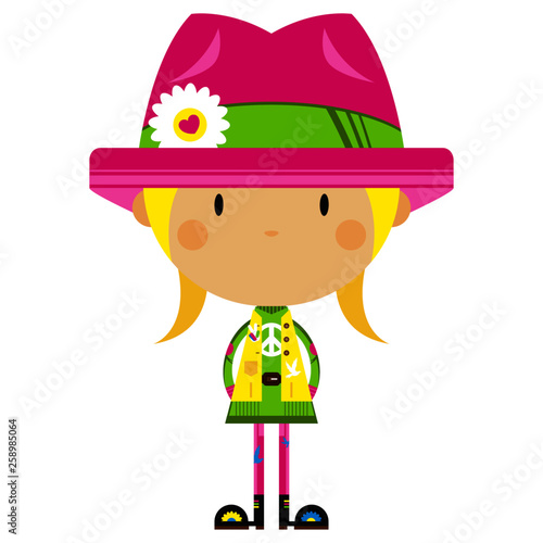 Cute Cartoon Hippie Girl in Flower Hat Wallpaper Mural