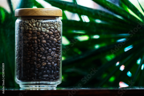 Door stickers Cafe coffee beans in the glass jar