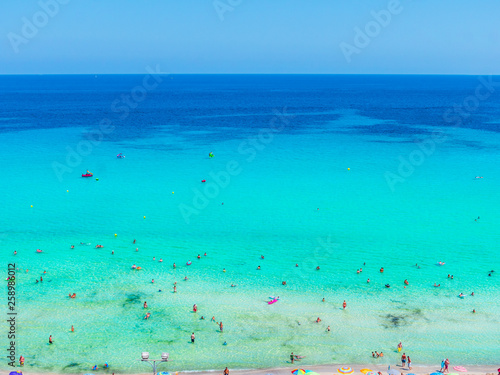 Photo Stands Turquoise Cala Millor beach and hotels