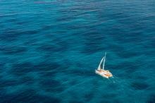 High Angle View Of Sailing Boa...