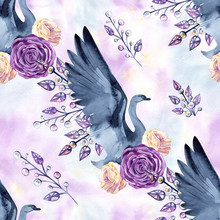 Seamless Pattern With Delicate Swans, Feathers, Roses, Jewelry Hand-drawn Watercolor
