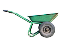 Green Color Metal Steel Dirty Old Garden Wheelbarrow Isolated On White Background Side View With Black Inflatable Wheel Closeup