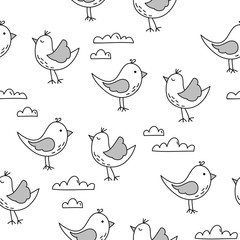 Lovely birds pattern design with clouds - funny hand drawn doodle, seamless p...