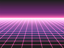 Retro Futuristic Neon Grid Background, 80s Design Perspective Distorted Plane Landscape Composed Of Crossed Neon Lights Ol Laser Beams, Synthwave Or Retro Wave Styled Vector Illustration