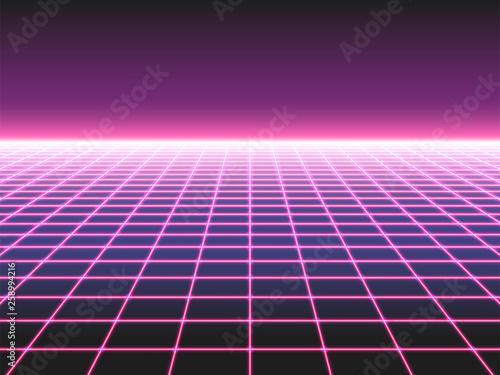Papel de parede  Retro futuristic neon grid background, 80s design perspective distorted plane la