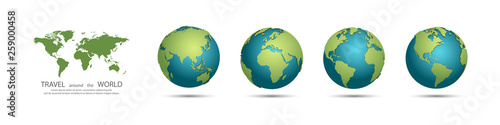 Earth Globes collection. Set of 3d earth globes with shadow. Travel around the world concept #259000458