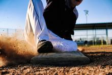 Baseball Player Slide Into Base, Sports Action Close Up.