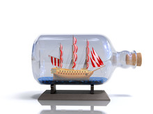 Ship In A Bottle 3d Render On White Image