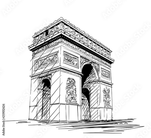 Sketch of Arc de Triomphe in Paris, France, Hand drawn illustration isolated Canvas-taulu