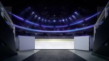 Hockey Stadium Ice Rink Entry Corridor With Blurry Background,  Indoor 3D Render Illustration