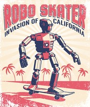 Humanoid Robot Riding A Skateb...