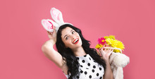 Young Woman With Easter Basket...