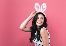 Young Woman With Easter Rabbit...