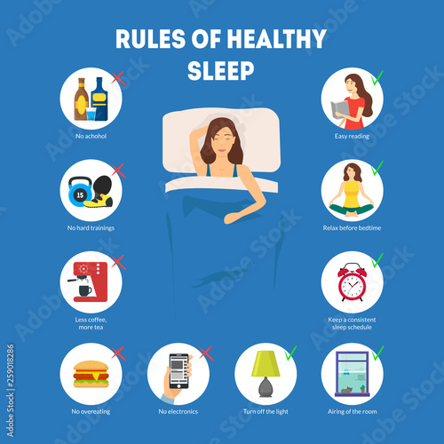 Canvas Print Cartoon Rules of Healthy Sleep Infographics Concept Card Poster