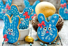 Funny Bunny Cookies, Homemade Gingerbread Biscuits Shaped Rabbits In Blue Glaze For Easter