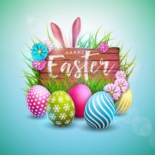 Happy Easter Holiday Design With Painted Egg, Flower And Rabbit Ears On Vintage Wood Background. International Vector Celebration Illustration With Typography For Greeting Card, Party Invitation Or
